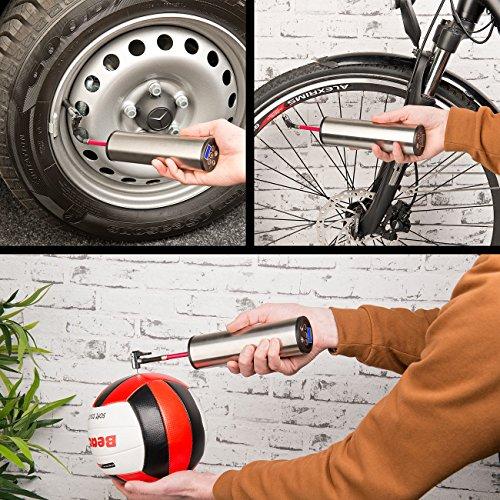 AGT Professional Digital Pumpe: Akku-Kompressor-Luftpumpe für Reifen, Bälle u.v.m, LCD, bis 150 psi (Auto Luftpumpe)