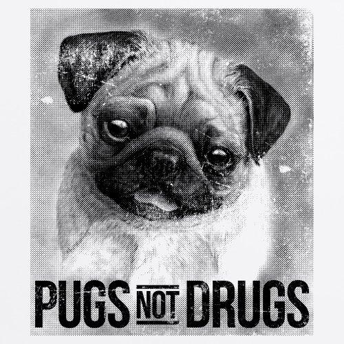 Pugs Not Drugs T-Shirt, Herren Wei