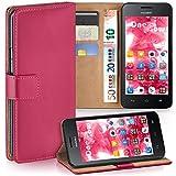 moex Huawei Y330   Hülle Pink mit Karten-Fach 360° Book Klapp-Hülle Handytasche Kunst-Leder Handyhülle für Huawei Ascend Y330 Case Flip Cover Schutzhülle Tasche