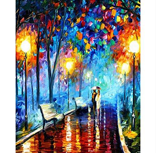 WHXJ Sosteniendo Paraguas Gente Caminando En Lluvia Costura 5D DIY Pintura Diamante Pintura Pegada Taladro Decoración del Hogar 60X60Cm