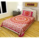 RajasthaniKart Classic 144 TC Cotton Single Bedsheet with Pillow Cover - Abstract, Pink