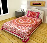 #10: RajasthaniKart Classic 144 TC Cotton Single Bedsheet with Pillow Cover - Abstract, Pink