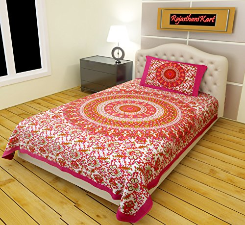 RajasthaniKart Classic 144 TC Cotton Single Bedsheet with Pillow Cover - Abstract,...