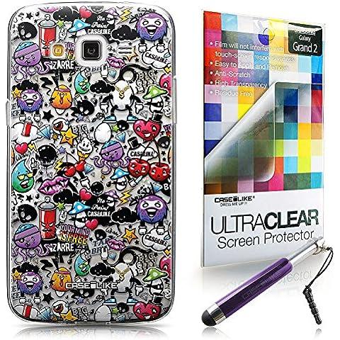 CASEiLIKE Graffiti 2703 Bumper Prima Híbrido Duro Protección Case Cover Funda Cascara for Samsung Galaxy Grand 2 +Protector de Pantalla +Plumas Stylus retráctil (Color al