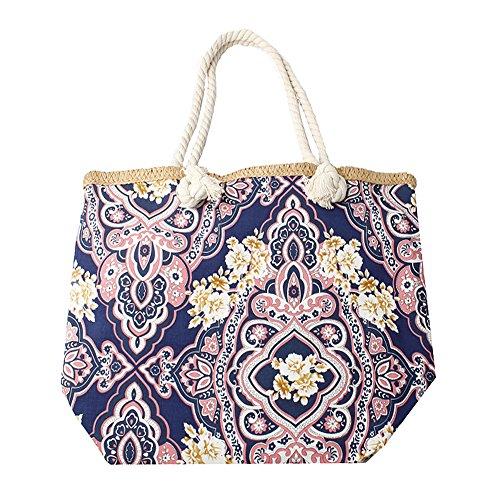 Accessoryo - marine le sac de plage féminin floral rose et beige et imprimé cachemire