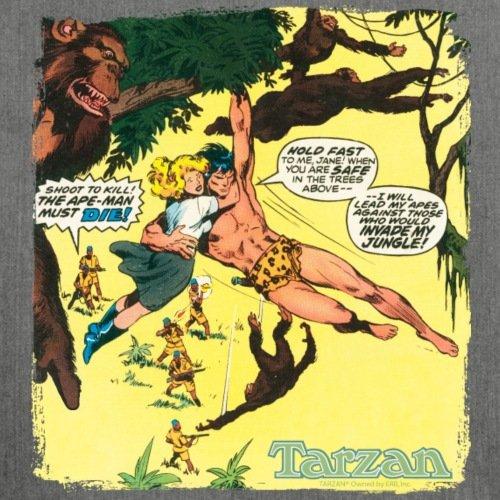 Spreadshirt Tarzan Rettet Jane Vor Jägern Comic Schultertasche aus Recycling-Material Dunkelgrau Meliert