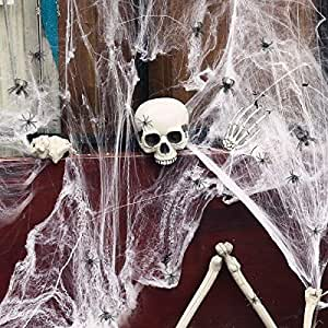 TOYMYTOY Halloween Spider Web Indoor Halloween Decoration Outdoor Haunted House Decoration Webbing Cobwebs with Plastic Spiders and Bat (100g Spider Web+ 164Pcs Realistic Bugs)