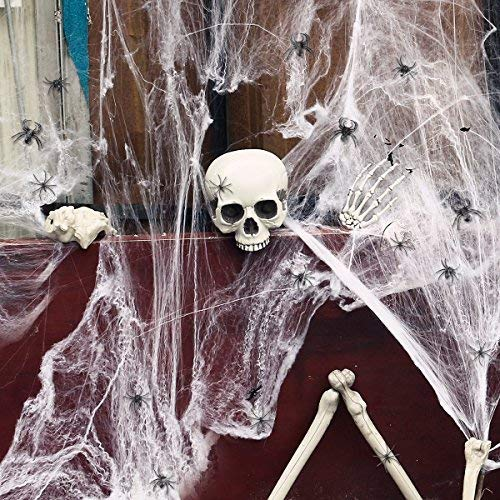 Price comparison product image TOYMYTOY Halloween Spider Web Indoor Halloween Decoration Outdoor Haunted House Decoration Webbing Cobwebs with Plastic Spiders and Bat (100g Spider Web+ 164Pcs Realistic Bugs)