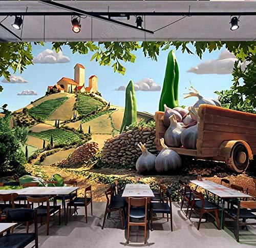 Großes Wandbild Des Gemüsetapeten 3D Des Blockes 3D Buntes Wandgemälde 3D Für Sofa-Hintergrundrestaurant 3D, Das Dekor 3D, Der, 150 × 105Cm Bedeckt