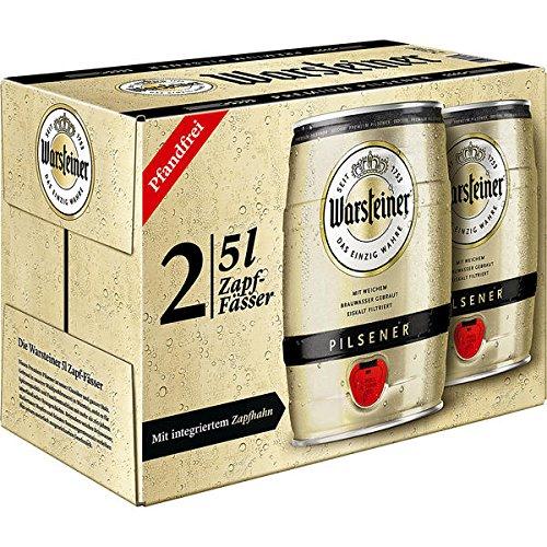Warsteiner Premium Pilsener Fass, 2er Pack, (2 x 5 Liter) -