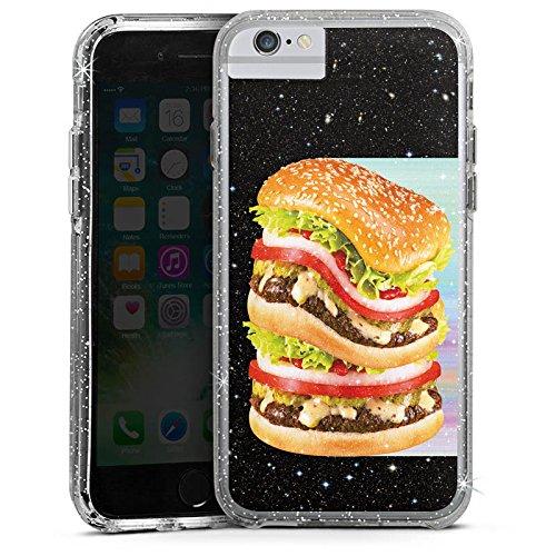 Apple iPhone 6s Bumper Hülle Bumper Case Glitzer Hülle Burger Hamburger Meat Bumper Case Glitzer silber