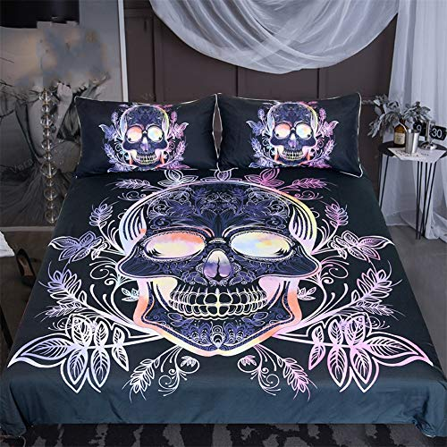 Zhyy beddingoutlet set biancheria da letto teschio gotico set copripiumino set lenzuola viola rosa tessuti for la casa alla moda floreali 3 pezzi (colore : nero, size : us full-200x229cm)