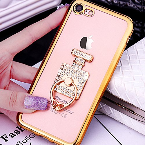 Custodia iPhone 7 Plus Glitter, iPhone 7 Plus Cover Silicone, SainCat Cover per iPhone 7 Plus Custodia Silicone Morbido, Custodia Bling Glitter Strass Diamante 3D Design Ultra Slim Trasparente Silicon Doro #2