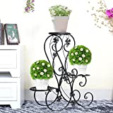 Blumentreppe Blumenständer Metall Blumenbank mit 3 Blumenhocker für Garten/Terrasse (Schwarz)