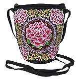 Umhängetasche- Trachtentasche fürs Dirndl - Vintage Stickerei Blüten - Umhängebeutel bestickt