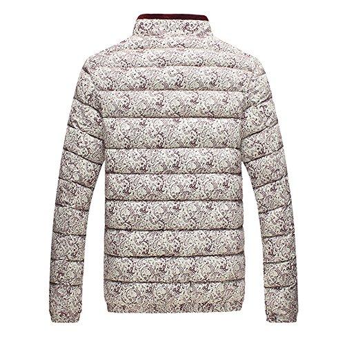Zrong Herren Winter Beiläufige Baumwolldicke gepolsterte Jacke Reißverschluss oben dünner Outwear Mantel Wein