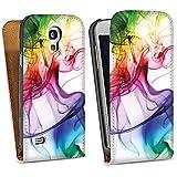 Samsung Galaxy S4 mini Tasche Schutz Hülle Walletcase Bookstyle Farben Bunt Nebel