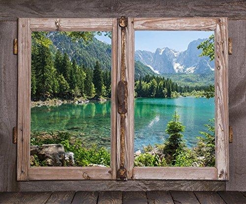 Adesivo finestra sul lago montano - sticker trompe l'oeil di alta qualità | 100 x 83 cm