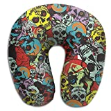 Yuerb Memory Foam Neck Pillow,Sugar Skull Candy Travel Pillow