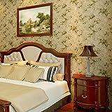 Retro Vlies Tapeten Garten Blumenmuster geeignet für Schlafzimmer Wohnzimmer Sofa TV Hintergrund Wallpaper 0.53m(20.86