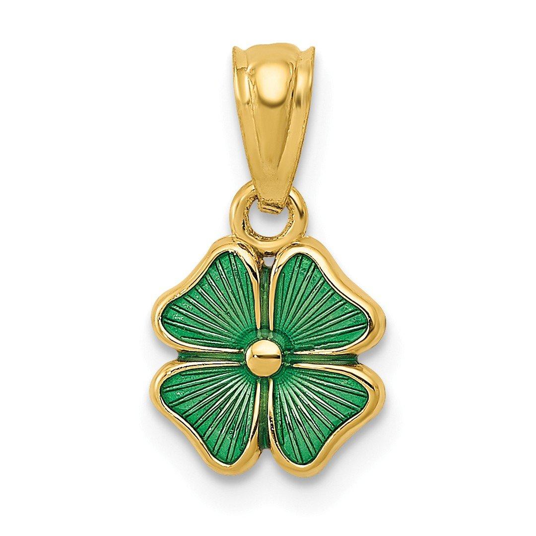 14k Yellow Gold Green Enameled Four Leaf Clover Pendant Charm Necklace Good Luck Italian Horn Celtic Claddagh Fine…