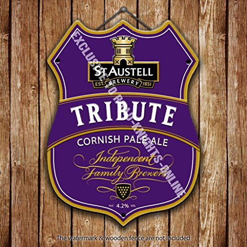Stahl Keg (ST Austell Tribute Cornish Pale Ale. Cornwall. Bier Werbung Bar Old Pub Drink Pumpe Badge Brauerei Cask Keg Zugluftstopper Real Ale Pint Alkohol Hopfen Form aus Metall/Stahl Wandschild, stahl, 27 x 20 cm)