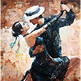 Printelligent Modern Art Dancing Couple Canvas Paintings - 100% Cotton Canvas Digital Art HD Print For Home And Office Décor-(18 In X 18 In)