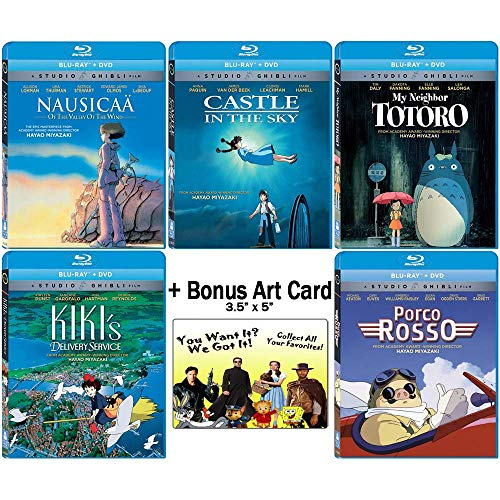 The Founders Blu-ray Collection: Written & Directed by Hayao Miyazaki (Nausicaa of the Valley of the Wind / Castle in the Sky / My Neighbor Totoro / Kiki\'s Delivery Service / + More) +Bonus Art Card