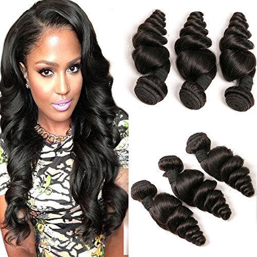 DAIMER Brazilian Hair 3 Bundles Weave Loose Wave 100 Unprocessed Cheap Natural Virgin Remy Human Hair Extension Weave Weft 8a Total 300g Natural Color 18 20 22 Inches (Halo Extensions Brown Hair)