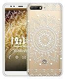 Sunrive Für Huawei Y6 2018 Hülle Silikon, Transparent Handyhülle Luftkissen Schutzhülle Etui Case für Huawei Y6 2018/Y6 Prime 2018 5,7 Zoll(TPU Blume Weiße)+Gratis Universal Eingabestift