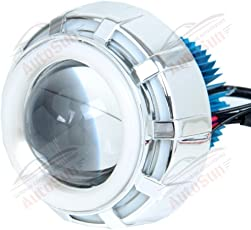 Autosun Projector Lamp (Blue ,White And Red) Led Headlight Lens Projector For - All Bikes