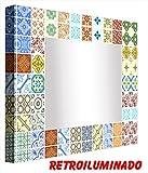 Ccretroiluminados Azulejo Portugues Pequeños Espejo de Baño con Luz, Acrílico, Multicolor,...