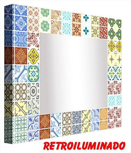 Ccretroiluminados Azulejo Portugues Pequeños Espejo de Baño con Luz, Acrílico, Multicolor, 60x60x5,3 cm