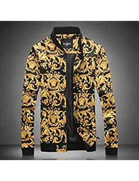 Tide Mens jacket delgada chaqueta impresa marea Casual Boys Chaqueta camiseta béisbol abrigo, negro, M