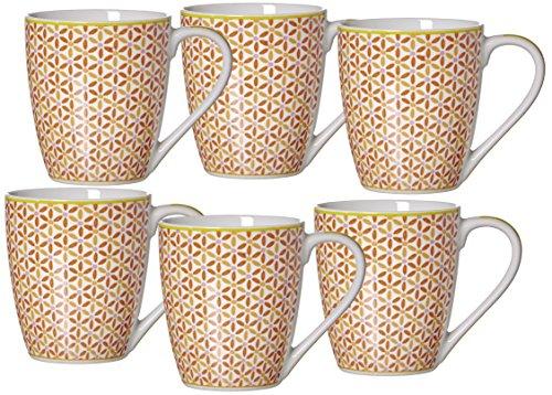 Ritzenhoff & Breker Set Macara, 6-teilig, 360 ml, Rot Kaffeebecher, Porzellan, 13 x 9 x 10 cm, 6-Einheiten