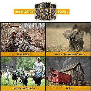 "Campark Trail Game Camera, 14MP 1080P Waterproof Hunting Scouting Cam Wildlife Monitoring 120° Detecting Range Night Vision 2.4"" LCD IR LEDs"
