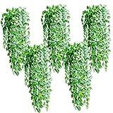 Jingxu 5 Stück Künstliche Pflanzen Weinrebe Blätter und Blüten Kunstpflanzen Deko, ca. 90cm lang