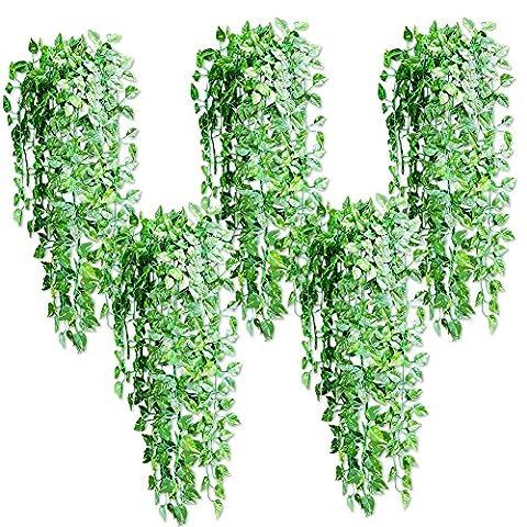 Jingxu 5 Stück Künstliche Pflanzen Weinrebe Blätter und Blüten Kunstpflanzen Deko, ca. 90cm
