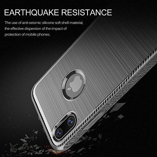 Coque iPhone X, KuGi ultra mince TPU Silicone Gel Shockproof téléphone mobile shell manchon de protection boîte de qualité Haut de gamme avec Fibre de carbone Coque Étui Housse pour iPhone X Smartphon Gris