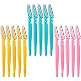 Ögonbrynsrakhyvel, 15 st sminkverktyg rakapparater trimmare ansiktshår knivborttagare (rosa, himmelsblå, gul)