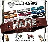 LEDASS92 Hundehalsband mit Namen Strass Halsband Name Strassbuchstaben Swarovski Elements (XXL - 50cm - 58cm Halsumfang verstellbar, braun)