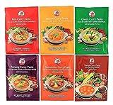 [ 6x 50g ] COCK Curry Paste je 1x 50g Rote, Gelbe, Grüne, Panang, Matsaman, Namya