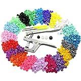 PALADY 300pcs T5 Snaps botón Plastico Snaps Alicate DIY Manualidades Herramienta de Plástico Botones Sujetador para el pañal de bebé Diaper Bib (20 Colores)