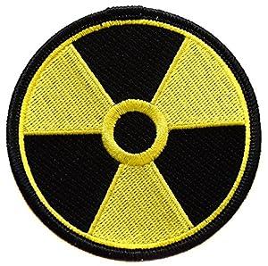 Ecusson brodé thermocollant patch nucleaire radioactif radioactivité nuclear 7,5cm