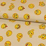 Stoffe Werning Dekostoff Emoji beige Canvas Dekorationen -