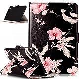 Kompatibel mit iPad mini Hülle,iPad mini 1 2 3 Schutzhülle,Bunte Marmor Blumen PU Lederhülle Flip Hülle Handyhülle Cover Ständer Tasche Wallet Case Schutzhülle für iPad mini 1 2 3,Schwarze Rosa Blumen