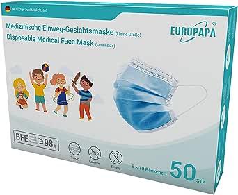 EUROPAPA 50x Medizinisch Mini OP Masken Model S in kleiner Größe Type IIR EN14683 Tüv CE zertifizierte Mundschutzmasken 3-lagig Mundschutz Gesichtsmaske Einwegmaske