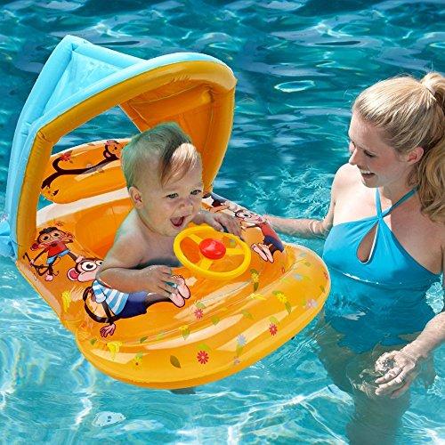 Asiento flotante inflable de la piscina del bebé - WISHTIME Summer Party Beach Toy Anillo de natación Asiento de asistente de niño barco con una cubierta (amarillo)