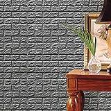 Amuster Nouveau PE mousse 3D papier peint bricolage Stickers muraux décoration murale en relief brique pierre (Gris-1)