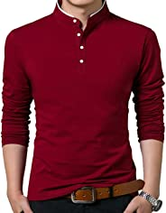 Men's Casual Slim Fit Pure Color Long Sleeve T Shirts Comfy Soft Tee-Shirts